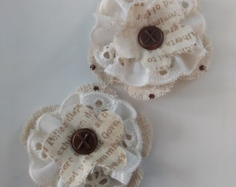 Handmade fabric flower embellishments