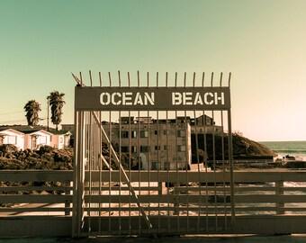 Ocean Beach Photography, San Diego Beach, Apartment Wall Art, Ocean Beach Sign, California Print, Urban Decor, Yellow, Green, OB Pier