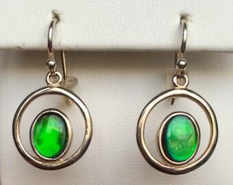 Ammolite Earrings - Vibrant Green
