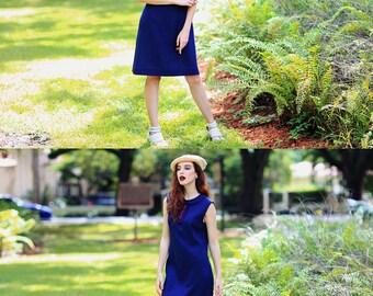 60s Blue Mod Dress Vintage Navy Blue Peter Pan Collar Shift Dress