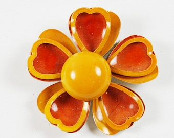 Vintage Orange Enamel Flower Brooch