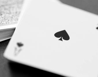 Ace of Spades, Poker art, Canvas art, Game room art, Bar artwork, Black and white print, Game room decor // Playing cards - Ace of Spades