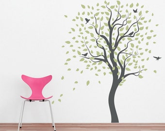Large Lively Tree -Vinyl Wall Decal, Tree Wall Sticker, Nature Wall Decal, Living Room Art, Nursery Tree Sticker, Windy Tree, Falling Leaves