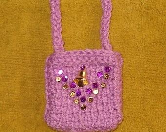 Bohemian Jewelry Goddess Totem Pouch Medicine Bag Stash Talisman Necklace Potpourri Sachet - Orchid Purple, Sequin & Bell (it rings!) FWB