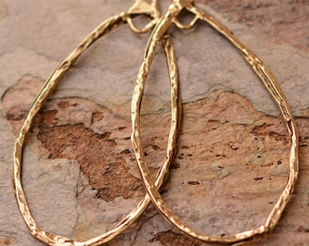 Large Teardrop Hoops, Big Earring Hoops, Gold Bronze, B/2