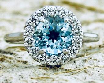 Elegant Aquamarine & Diamond Engagement Ring in 14K White Gold with Classic Halo-Style Setting Size 6
