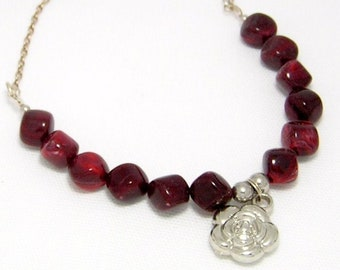 """20"""" Burgundy Necklace with Silver Rose"""