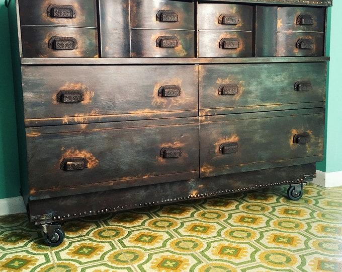 SOLD !!!!!!!!!!! Let me make one for you similiar! Vintage solid wood dresser/sideboard/storage 6 drawer on caster wheels