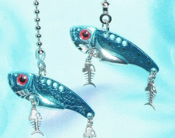 Set of Two ~ Fishing Lure Blue/Silver Metal ~ Ceiling Fan/Light Pull Chains