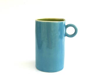 festive hand built porcelain cup ...  happy turquoise and green ceramic mug