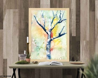 Lone tree, Large Tree Print, One Tree, Green Tree Wall Art, Watercolor tree, Watercolor art,  Pink Yellow, White Black, Nature lover gift