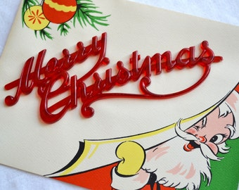 Vintage Christmas Card -  Peeking Santa with Removeable Plastic Merry Christmas Piece  - Unused