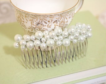 PEARL BERRY Large Burst Silver Hair Comb, Bridal Comb, Pearl Comb, Weddings, Bridesmaids, Bridal Comb, Bridal Hair Clip, Silver Hair Clip