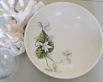 VINTAGE BOWL Serving Bowl White Aqua Grey Floral SHENANGO China