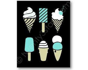 Ice Cream & Popsicle Poster, Custom Kitchen Art, Ice Cream Canvas, Ice Cream Wall Art, Personalized Popsicle Art Print, Popsicle Wall Art