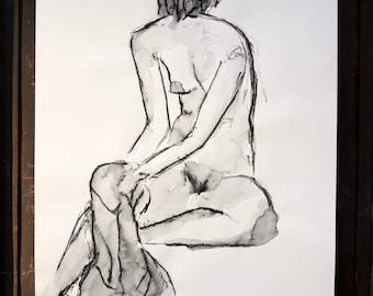 """Original drawing of Act of """"Sitting with cloth"""" / nude art / Woody"""