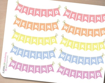 Weekend Banner Pastel Planner Stickers Perfect for Erin Condren, Kikki K, Filofax and all other Planners
