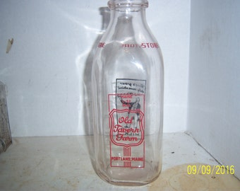 1950's Old Tavern Farm Portland, ME Pyro Quart 9 inch tall Milk Bottle