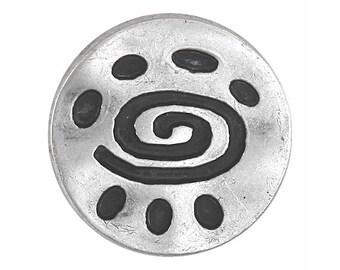 3 Spiral Glyph 7/8 inch ( 22 mm ) Metal Buttons Antique Silver