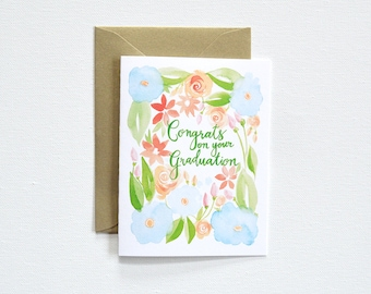 Pretty Graduation Card, Floral Graduation Card, Watercolor Congrats Card, Congratulations Greeting Card