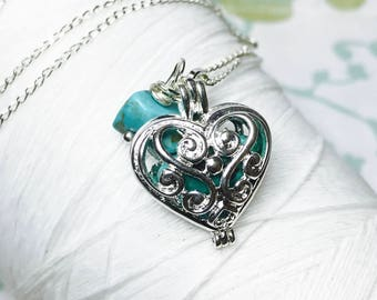 Worry Locket - turquoise heart locket / heart locket / December necklace / turquoise locket  / turquoise necklace / locket necklace/