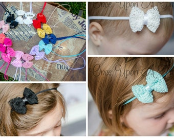 Pick One (1) Mini Textured Bow Skinny Elastic Headband - Photo Prop Hairbow Newborn Baby Accessory - Little Girls Hair Bow Basic Accessories