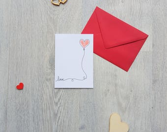 Saint Valentine's day-love card - card card I love you love-handmade, custom map heart-card card and envelope, greeting card