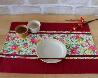 Colorful Camellia PLACEMAT, Fabric Placemat, Japanese style,  Floral placemat, Japanese Rose, Washoku, Home Decor, For Japan lovers, Kimono