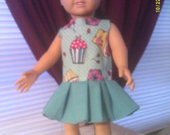 "18"" doll green cupcake dress"