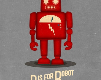 Robot Print. Cute Robot Wall Art, Vintage Robot Poster, Robot Illustration Print, Kids Decor, Retro Robot Art, Kids Wall Art, Nursery