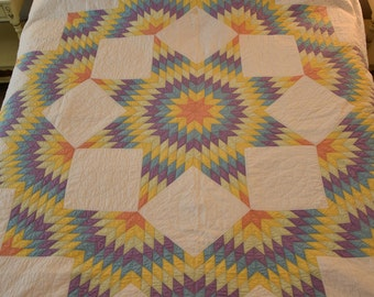Antique Star of Bethlehem Quilt: Incredible Quilting- Exc. Condition!