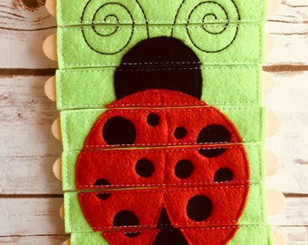 Ladybug Puzzle - Quiet Play - Pretend Play - Free Shipping