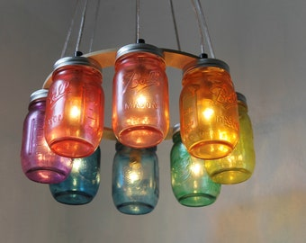 RAINBOW Connection MASON Jar Chandelier - Upcycled Hanging Mason Jar Lighting Fixture Direct Hardwire - BootsNGus Lamps Rustic Home Decor