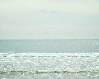 Beach Photography, Pastel Beach Art Print, Beach Print Mint, Coastal Wall Art, Seaside Print, Beach Wall Art,Ocean Print,Pale Blue Ocean Art