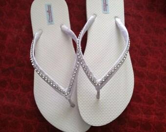 Vanessa Bridal Flip Flops, Bling Custom Flip Flops, Rhinestone Dancing Shoes, Bridal Sandals, Wedding Flip Flops, Beach Wedding, Shoes