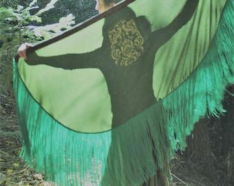 Green Lady Celtic Fringe shawl With Celtic Screen print image and celtic knotwork trim 14 inch fringe Rennissiance style