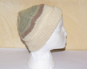 Unisex hand woven Merino and alpaca white hat