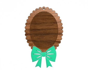 2pcs Multicolored Tie It With A Bow Cameo Setting - WITH HOLES - for 40x30mm Cameo - Laser Cut - (You select the Colors)