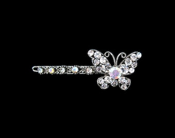 Crystal Butterfly Barrette Hair Clip Accessory Antique Silver Tone Clear Clear AB