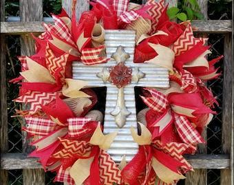 Cross Wreath, Religious Wreath, Christian Wreath, Sympathy Wreath, Front Door Wreath, Year Round Wreath, Spring Wreath, Cross Decor