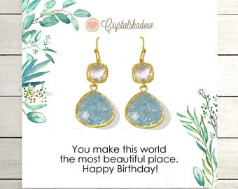 Light Blue Earrings Dangle / Aqua Drop Earrings / 30th Birthday Gift for Wife / Jewelry for Anniversary Gifts Cards Birthday / bijoux bleus