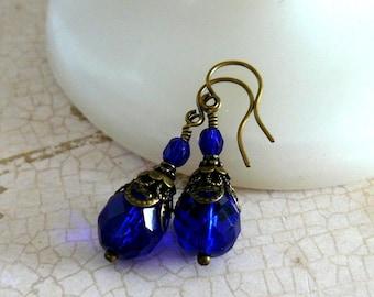 Cobalt Blue Earrings Vintage Style Bead Dangles Dark Blue Romantic Jewelry Old Fashioned Earrings Victorian Inspired Bridesmaid Earrings