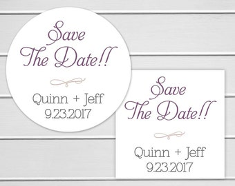 Save the Date Wedding Stickers, Personalized Wedding Stickers, Envelope Seals  (#159)
