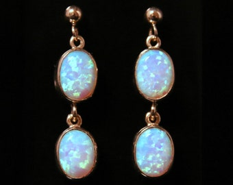Cultured Opal Gold Earrings Double Drops 9ct Gold