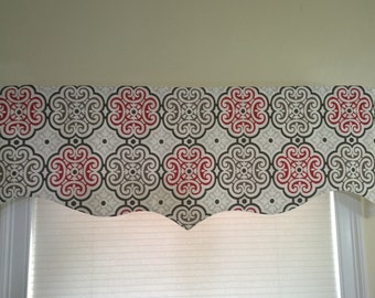 Red and brown window valance, Bedroom valance, custom window valance, Scalloped valance red and Brown.