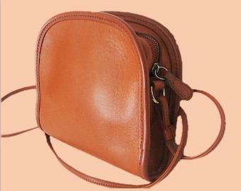 Vintage Coach Orange Leather Abbie Demi Shoulder Cross Body Bag 9017.Rare