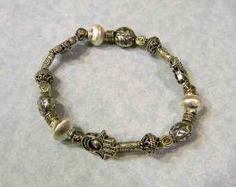 Bali and Hill Tribe Silver Hamsa Bead Frame and Evil Eye Stretch Bracelet