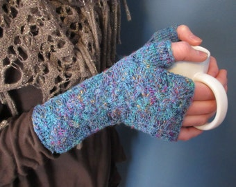 Turquoise Colorburst Fingerless Mitts