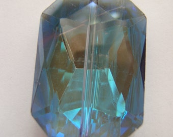 Faceted Glass Rectangle - Vibrant Blues