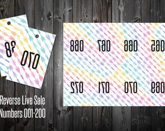 Live Sale Numbers 001-200 (Reverse) - Arrows